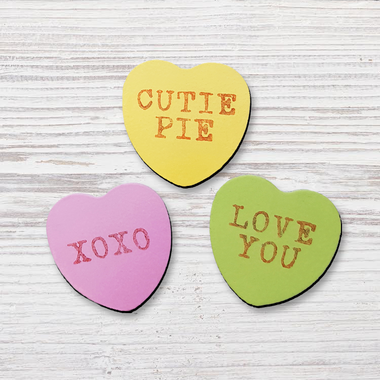 Adult Craft Kits - Wooden Conversation Heart Magnets
