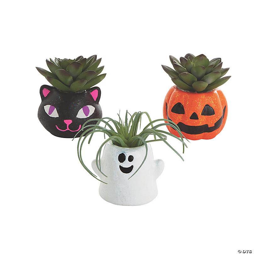 DIY Mini Ceramic Halloween Planters