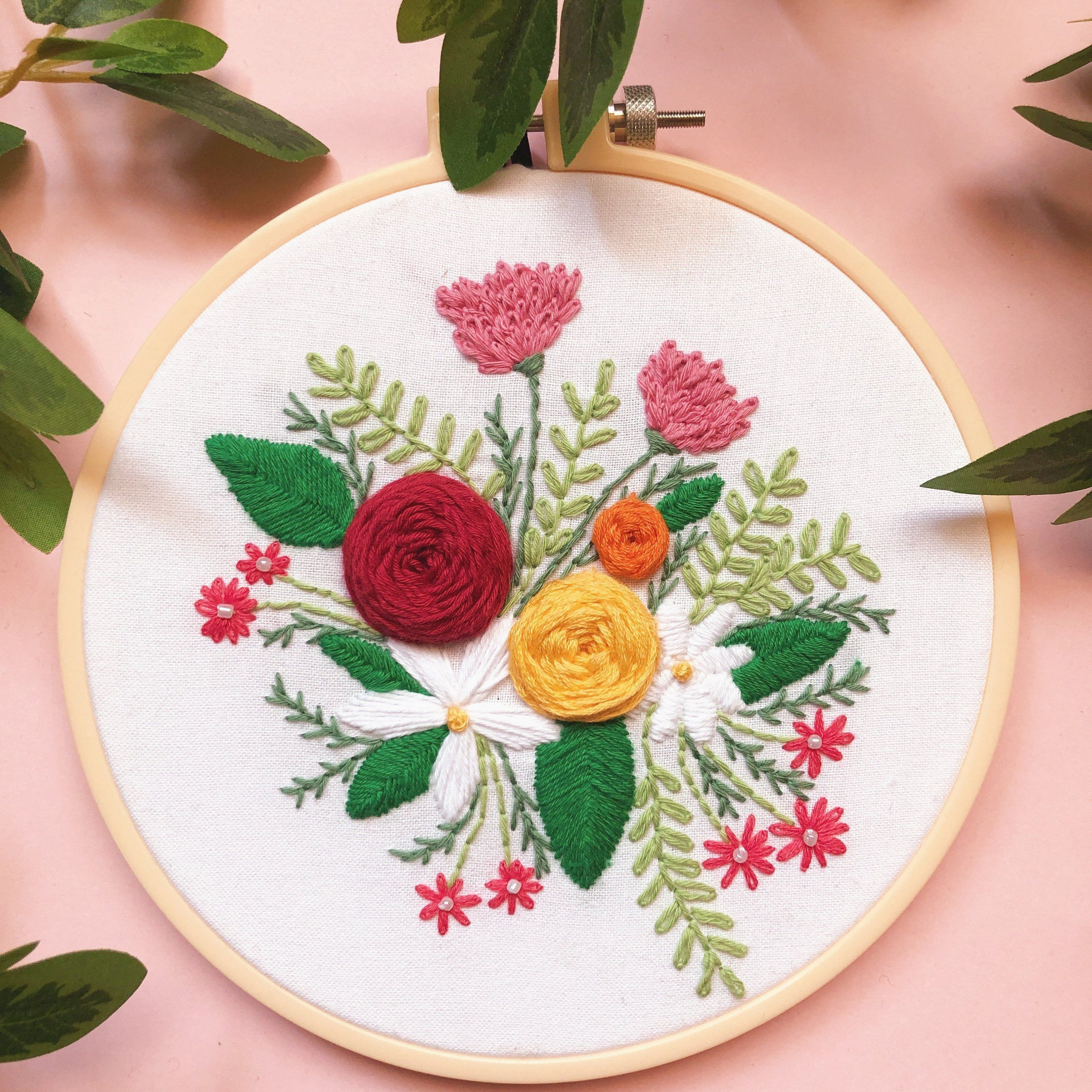 Adult DIY Craft Kits - Floral Embroidery Hoops